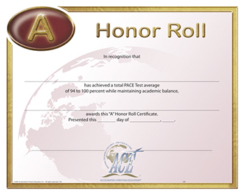 Honor Roll Certificate 94-100 Pkg 10