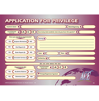 Application for Privilege Pad 50