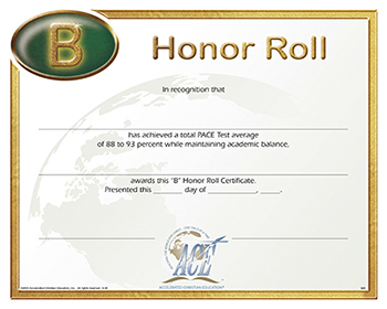 Honor Roll Certificate 88-93 Pkg 10